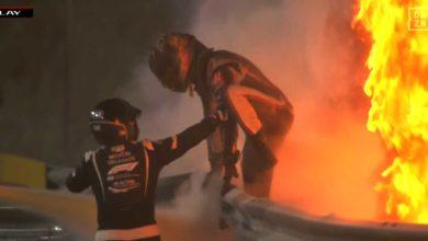 Photo of F1で車体が燃え上がる大事故(ドライバーの命に別状はなし)
